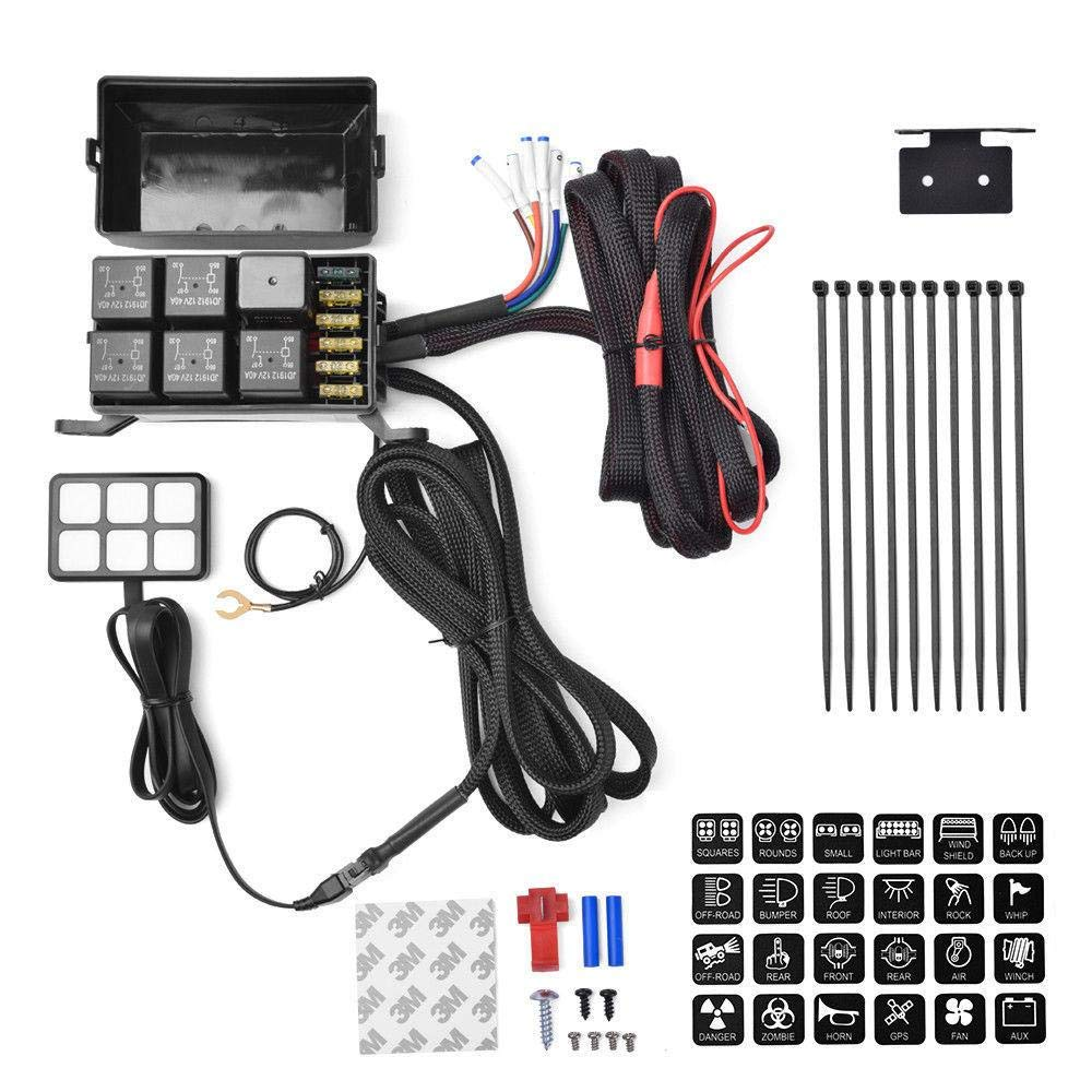 YOUNGFLY 6 Gang Switch Panel Electronic Relay System Circuit Control Box Waterproof Fuse Relay Wiring Harness Assemblies for Car Auto Truck Boat Marine