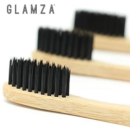 glamza Eco – Carbón de bambú cepillo de dientes antibacteriano suave fina suave cepillo Oral