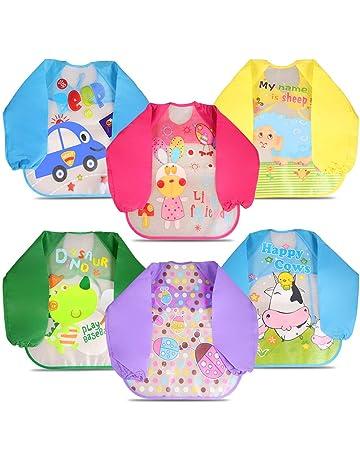b95b8d147a3 Letilio Baberos - 6 pcs Impermeable delantal de bebé unisexo EVA con manga  larga para 6