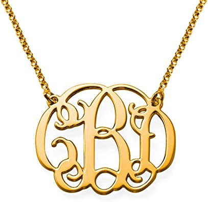 Custom Made 2 Initials Monogram pattern Circle Necklace in 925 Sterling Silver