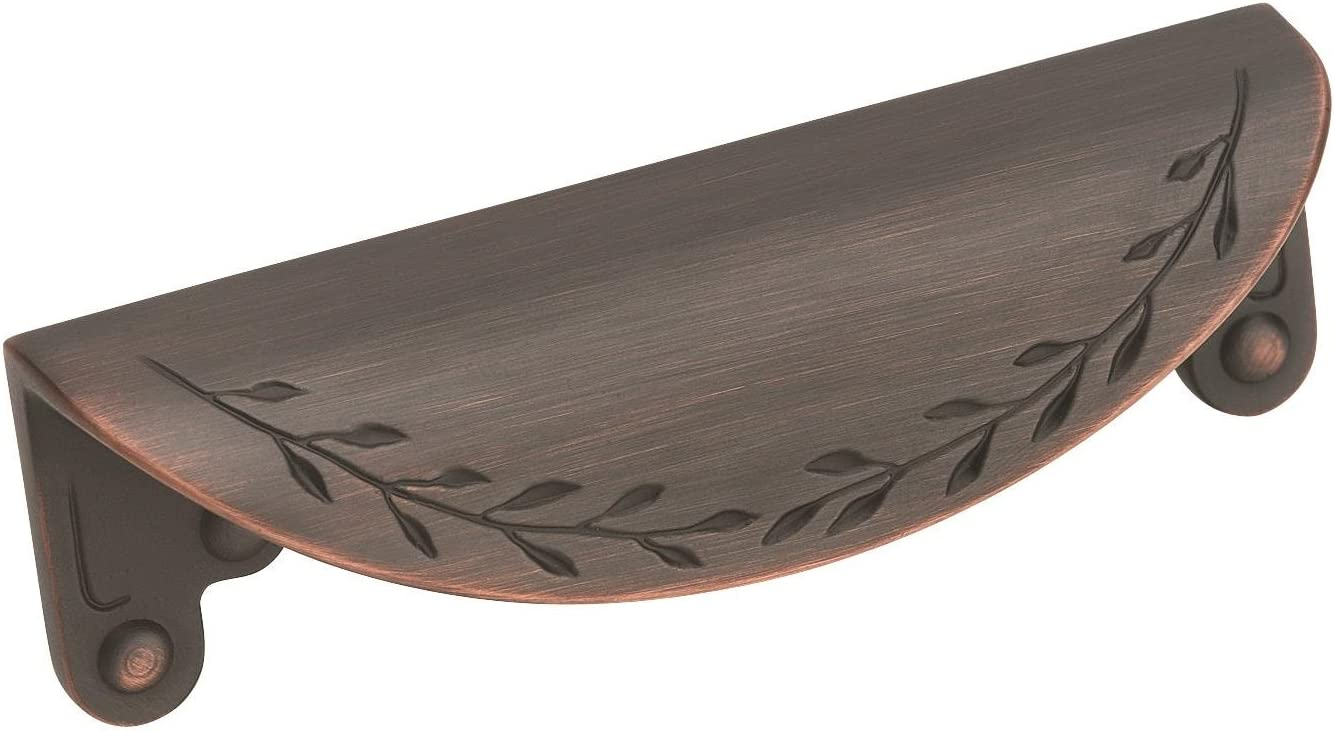 "Amerock BP1582ORB Inspirations Leaf Cup Pull, 4-1/4"", Oil-Rubbed Bronze"