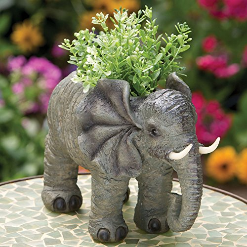Bits and Pieces - Indoor-Outdoor Elephant Planter - Whimsical Wildlife Animal Urn for Plants - Durable Polyresin Safari Inspired Décor by Bits and Pieces