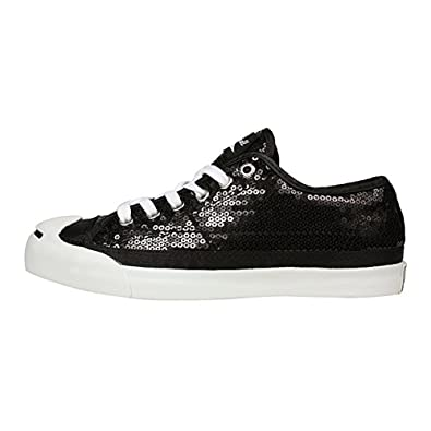 85eb884c81b8 Converse Jack Purcell LTT Ox Black Sequin Red Satin Lining 110876 (5.5)