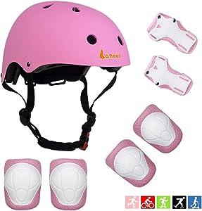 Lanova Toddler Helmet Kids Knee Pads for 2-8 Years Toddler Youth Bike Skateboard Helmet Knee Elbow Wrist Pads for Roller Bicycle Bike Skateboard and Other Extreme Sports Activities