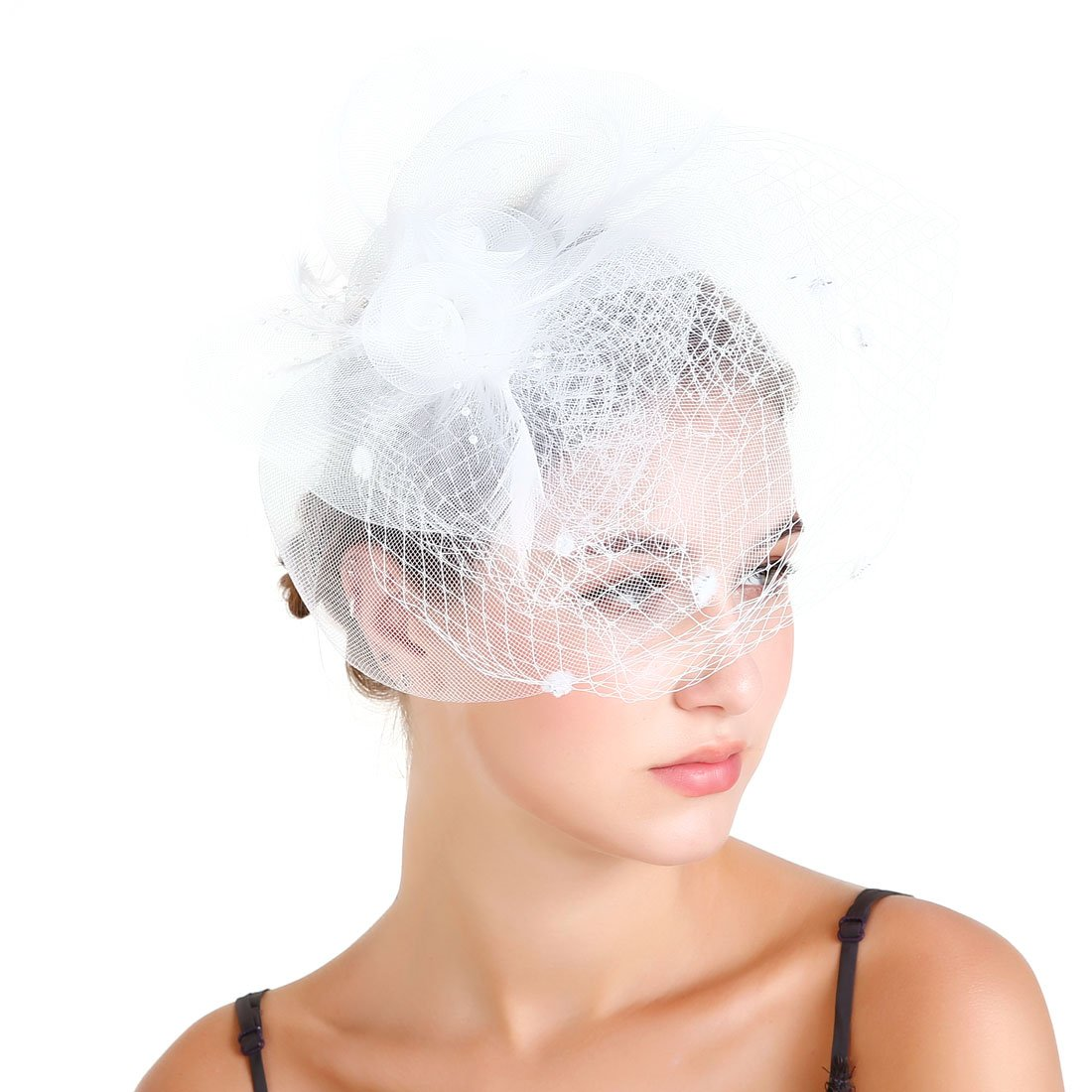 Fascinaor Hair Clip Feather Veil Wedding Party Hat (White)