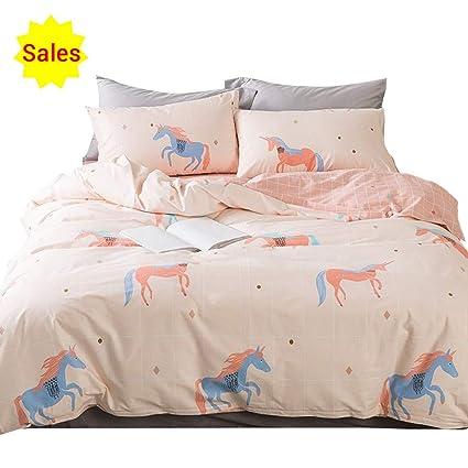 0860ece1116f OTOB Unicorn Duvet Cover Twin Bedding Sets Cotton Pink for Girls Kids  Toddler Woman Children Princess