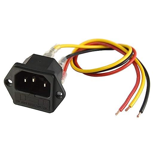 5X 3 Pin IEC320 C14 Inlet Module Plug Fuse Switch Male Power Socket 10A 250 BL