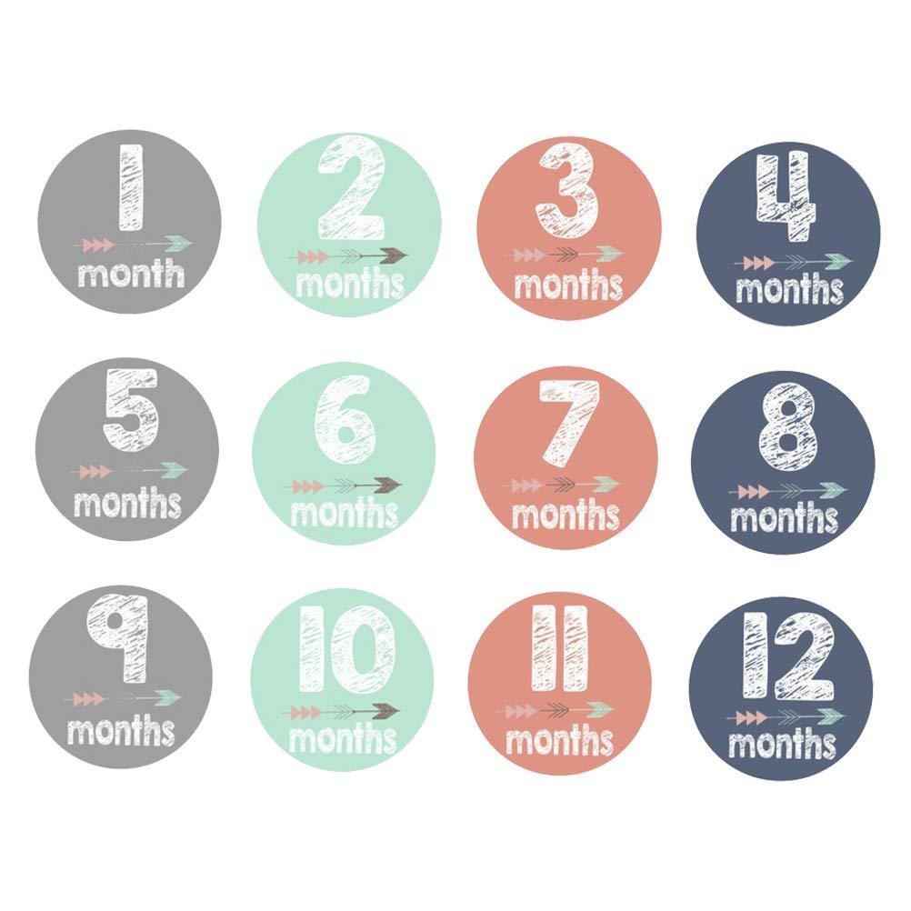 YeahiBaby Baby Monatliche Aufkleber Neugeborenen Meilenstein Aufkleber f/ür Scrapbook Andenken 12 St/ücke