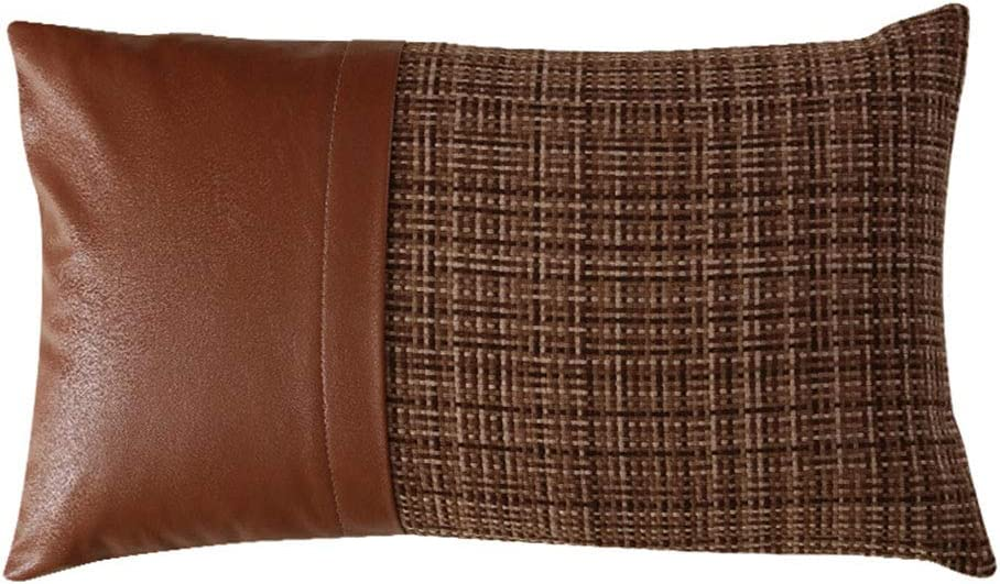 XSlive PU Faux Leather Cotton Linen Throw Pillow Covers Decorative Lumbar Cushion Cases Woven Pillowcase for Sofa Couch Bed Chair Car Home Decor Decorations (Coffee,12