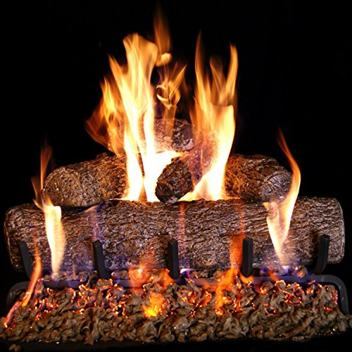 Peterson Real Fyre 18-inch Live Oak Log Set With Vented Burner and Gas Connection Kit. Match Lit (Natural Gas Only) (Best Way To Light A Log Burner)