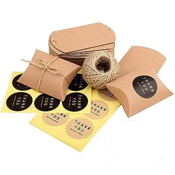 100 pcs Bolsas de Caramelos Kraft Vintage Marrón+ 60M Cuerda+100 Adhesivo Pegatinas para Galletas Boda Cumpleaños Navidad(6.5 * 9cm)