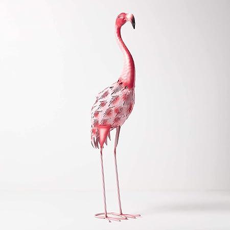 Figura decorativa de flamenco Homescapes para jardín, de metal, pintada a mano, de hierro, para jardín, estanque y balcón, decoración de estanque, figura de animales, color rosa, aprox. Altura: 67 cm.: Amazon.es: