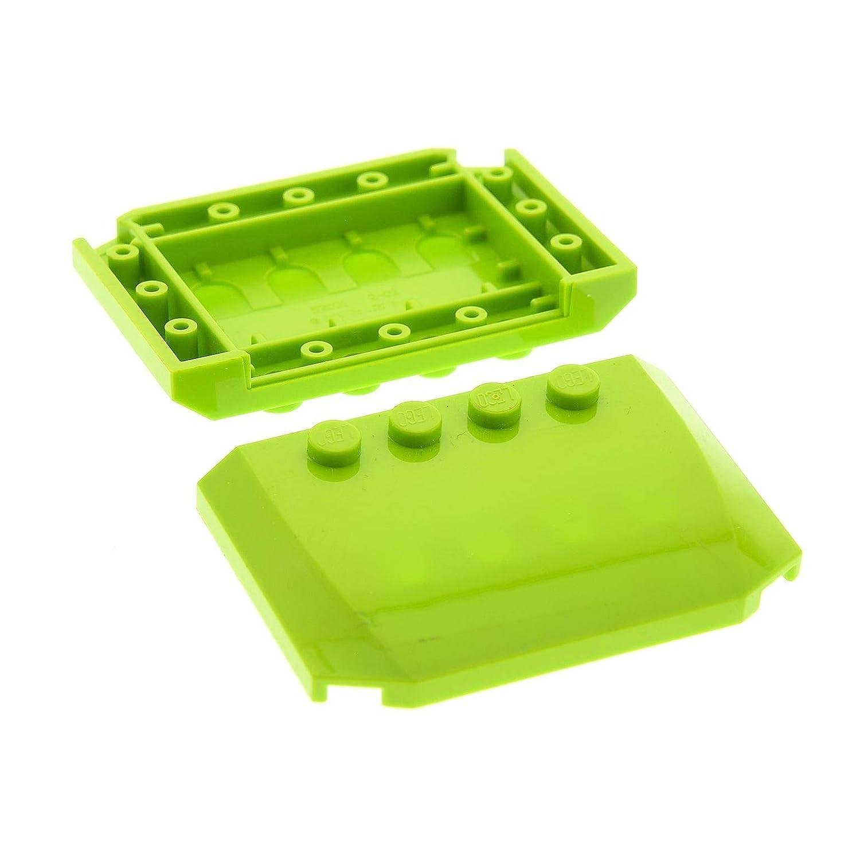 2 x Lego System Motorhaube gelb 4 x 6 x 2//3 Auto Dach Haube 52031