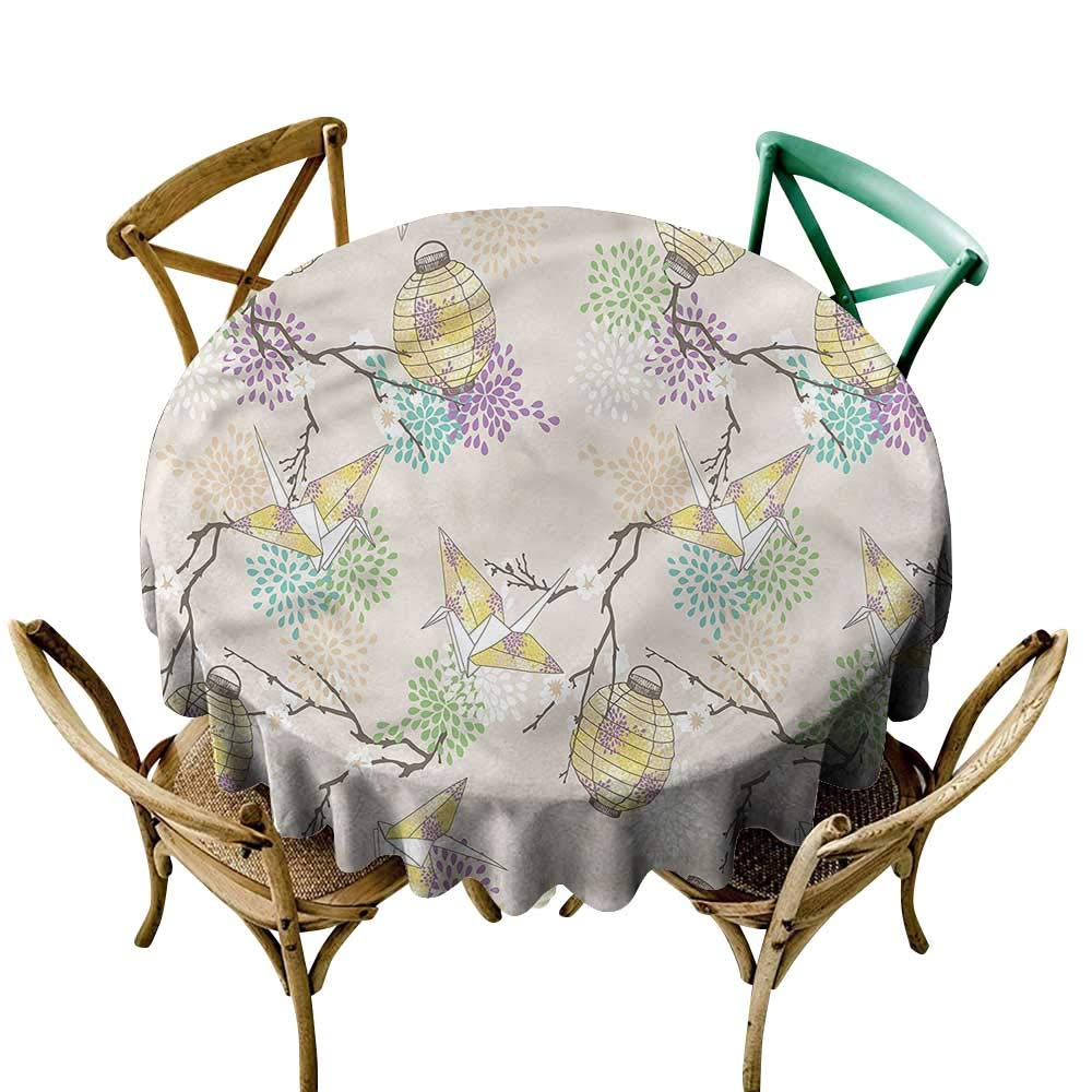 LsWOW 格子縞 円形 テーブルクロス ランタン カラフル 折り紙 クレーン 家族などに最適 60 Inch 60 Inch カラー01 B07Q6P1NZ9