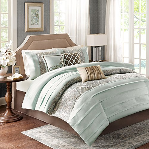 7 Piece Comforter Set, King, Blue (Bryant Set)