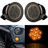 Aukmak Smoke Lens Amber Front LED Turn Signal Light Assembly for 2007~2017 Jeep Wrangle JK Turn Lamp Indicator parking lights 2pcs