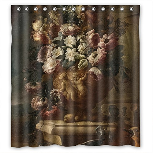 MaSoyy The Famous Classic Art Painting Flowers Blossoms Bath Curtains Of Polyester Width X Height / 66 X 72 Inches / W H 168 By 180 Cm Decoration Gift For Custom Couples Birthday Bf Fami