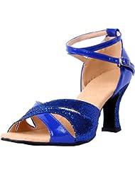 Honeystore Women's Glitter Chunky Heel Latin Dance Shoes