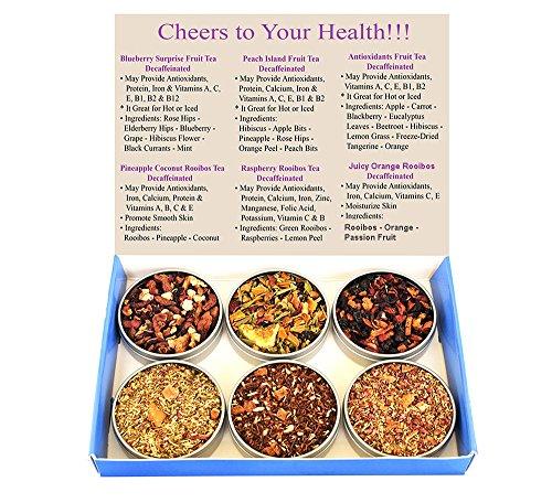 Tea Sampler - Fruit Tea - Rooibos - Decaffeinated - Gift Box - 100% Natural - Blueberry - Raspberry - Peach - Pineapple - Loose Leaf Tea