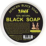 TAHA 100% Natural African Black Soap 5 oz Pack of 4 – Raw Organic Soap for Blemishes, Acne, Dry Scalp – Rich in Vitamins & Antioxidants – Cleanse, Exfoliate & Moisturize