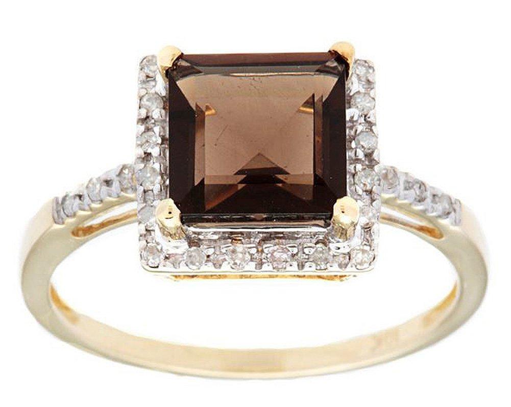 10k Yellow Gold Square Smoky Quartz and Diamond Halo Ring