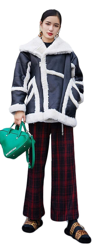 Pureed Giacche Donna Scamosciata Bavero Finta Pelle Caldo Giaccone Cappotto Addensare Invernali Manica Lunga con-Tasche Chiusura A Cerniera Outerwear None