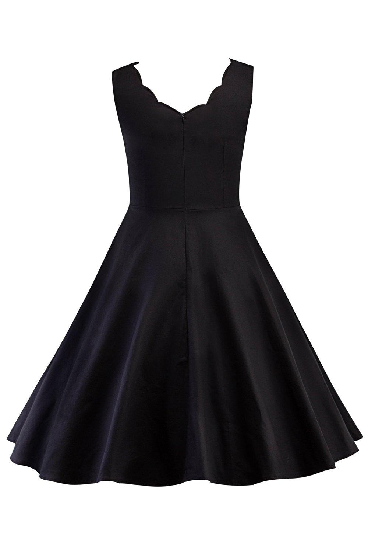 Babyonlinedress® Damen Vintage Kleines Schwarzes Kleid Knielang ...