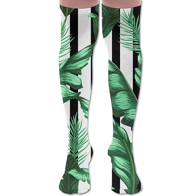 56ab6e3ba39 Tropical Banana Leaves Unisex Knee High Long Socks Stockings Dress Athletic  Socks Elasticity