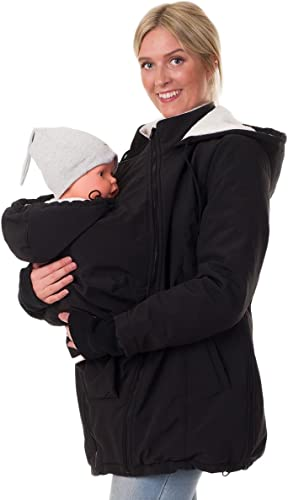 WJHW Tragejacke f/ür Mama und Baby 3 in 1 Winter Umstandsjacke Mama K/ängurujacke aus Fleece Tragepullove f/ür Babytrage,Black,S