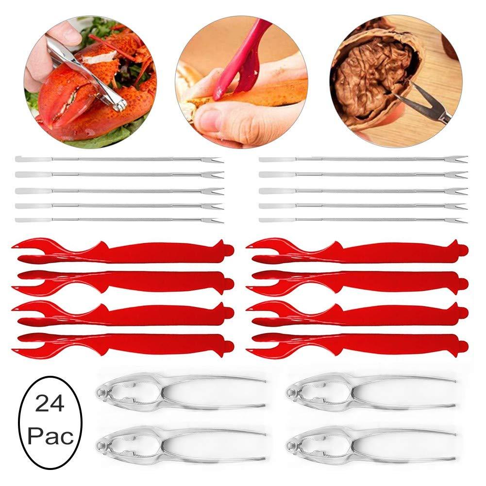 CysGy LobsterCrackersandPicks Stainless Steel Nut Cracker Set for Shellfish Lobster Leg Sheller Knife Kitchen(24Pcs) by CysGy