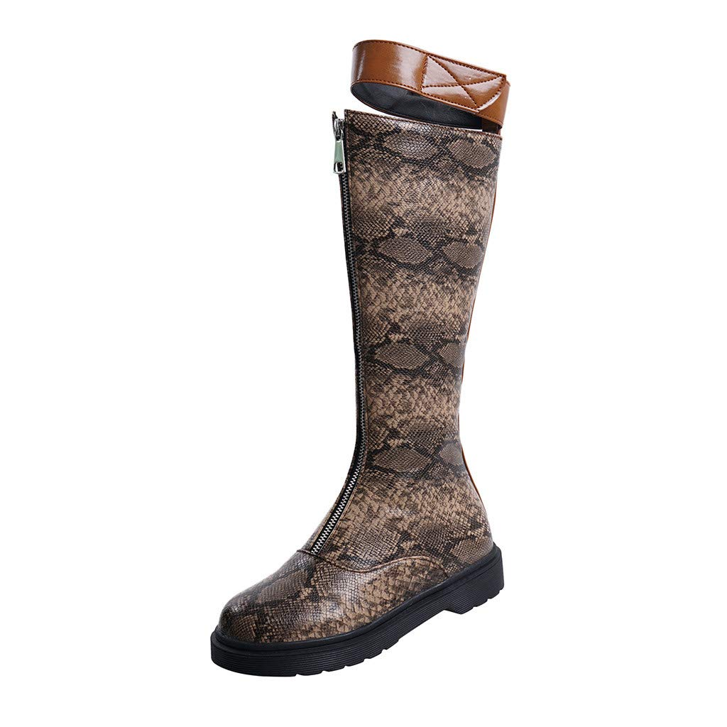Boots for Women Over-The-Knee Snake Printed Shoes Leather Waterproof Western Rodeo Cowboy Boot Low-heele Square Head Embroidered Footwear by SUIKI