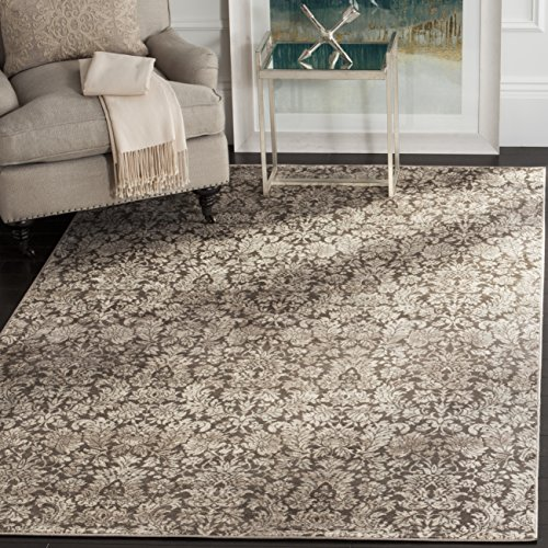 Brown Transitional Area Rug (Safavieh Vintage Collection VTG437B Transitional Floral Damask Brown and Cream Distressed Area Rug (9' x 12'))