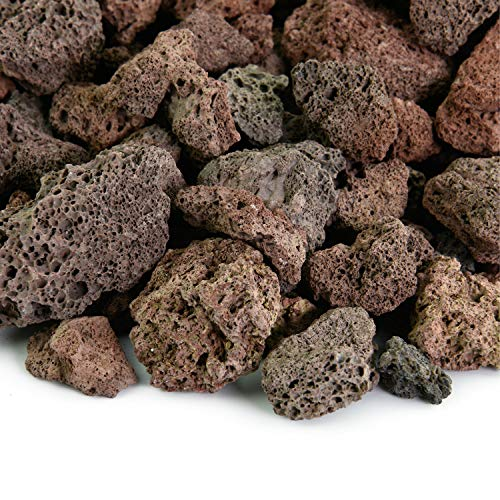 Red 3/4 Inch Lava Rock | Fireproof and Heatproof Volcanic Lava Rock, Perfect for Fire Pits, Fireplaces, BBQs and more. Indoor and Outdoor use – Natural Stones | 10 Pounds