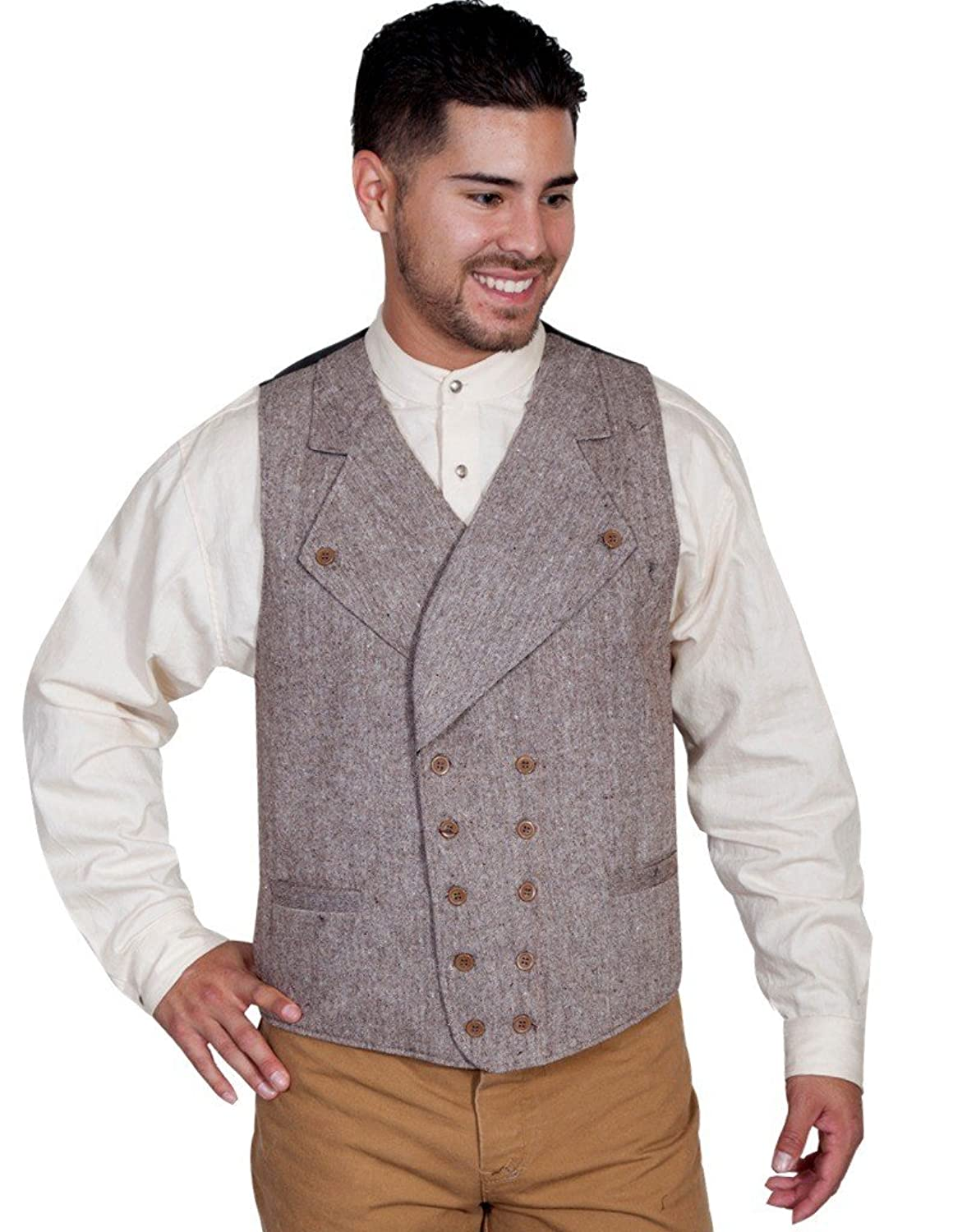 Men's Vintage Vests, Sweater Vests Scully Double Breasted Vest - Brown $75.00 AT vintagedancer.com