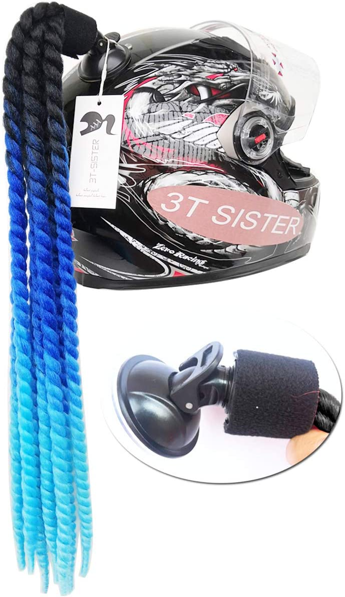 3T-SISTER Queue De Cheval Tress/ée De Casque De Moto Ponytail Decoration Casque De Moto Perruque De Casque 22 Pouces 1 pi/èces