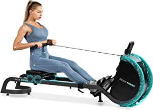 OVICX Magnetic Rowing Machine for Home Use Foldable Indoor Rower Exercise Equipment for Whole Body Workout with Double Track Black Alu sportgerät