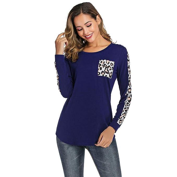 Camiseta Mujer Leopardo con Bolsillo Camisa Casual de Manga ...