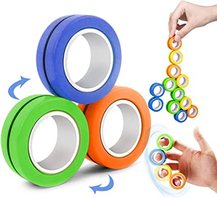 3PCS Fingears Magnetic Rings Fidget Toys Stress Anxiety Decompression Magical Ring Props Durable Unzip Hand Spinners Tools with Bearing Focus for Adults Children