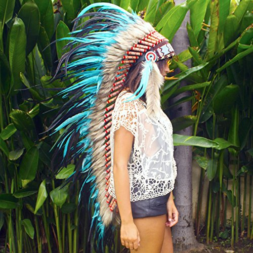 [Extra Long Feather Headdress- Native American Indian Inspired- Handmade by Artisan Halloween Costume for Men Women with Real Feathers - Turquoise] (Halloween Indian Headdress)