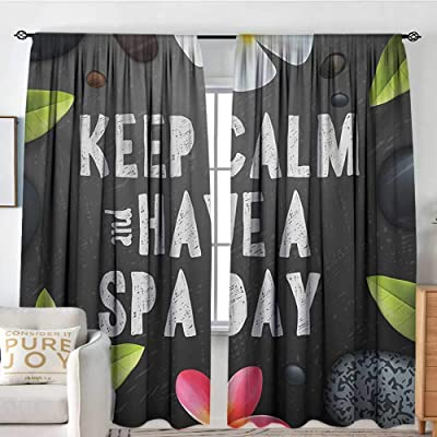 """NUOMANAN Blackout Curtains for Bedroom Zen,Keep Calm Have a Spa Day Quote Healthcare and Beauty Treatment Graphic Stones Flowers,Multicolor,Darkening and Thermal Insulating Draperies 100""""x96"""": Home & Kitchen"""