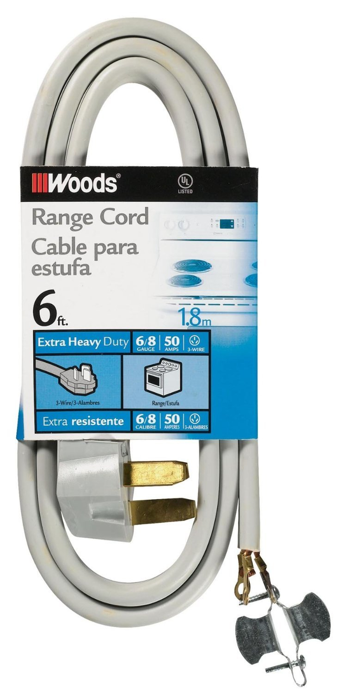 Woods 0986 6/2 8/1 SRDT 50-Amp Range Appliance Power Supply Cord, Grey