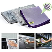 Nano-Knockout Ultra Microfiber Cloth - Car Towels - 4-Piece Set – JUST ADD Water No Detergents Needed – Includes, Interior Microfiber Cleaning Cloth, Body Non-Scratch Towel, Windows Streak Free Towel