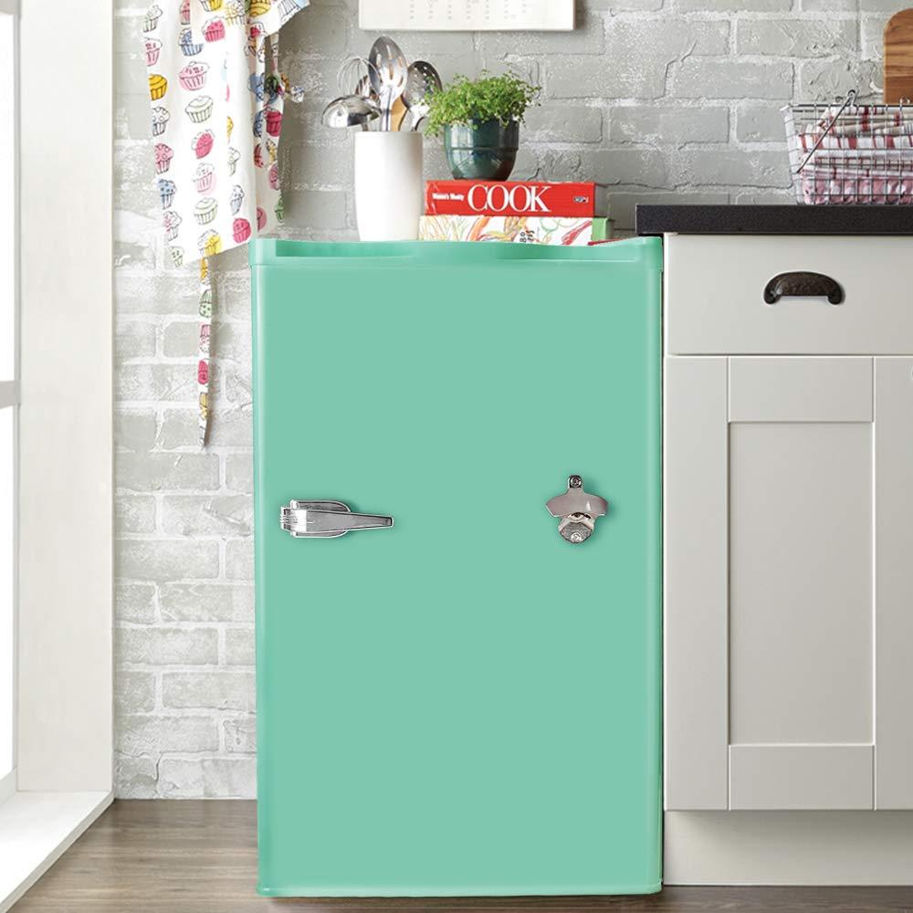 Tavata Compact Refrigerator - 3.2 Cu Ft Countertop Single Door Mini Fridge with Bottle Opener,Freezer,Handle and Reversible Door,Small Drink Chiller for Home, Office,Dorm or RV(Mint Green)