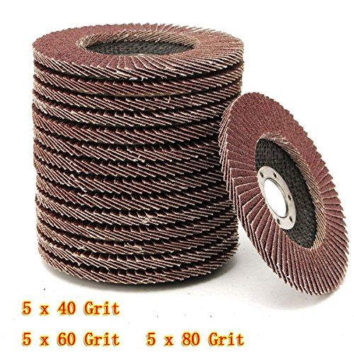 Kamas 15pcs 115mm 40 60 80 Grit Sanding Flap Discs Grinding Wheels