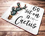 Funny Quote Go Sit On A Cactus Floral Mouse Pad Teacher Gifts Mousepad Desk Accessories Womens Coworker Office Gift