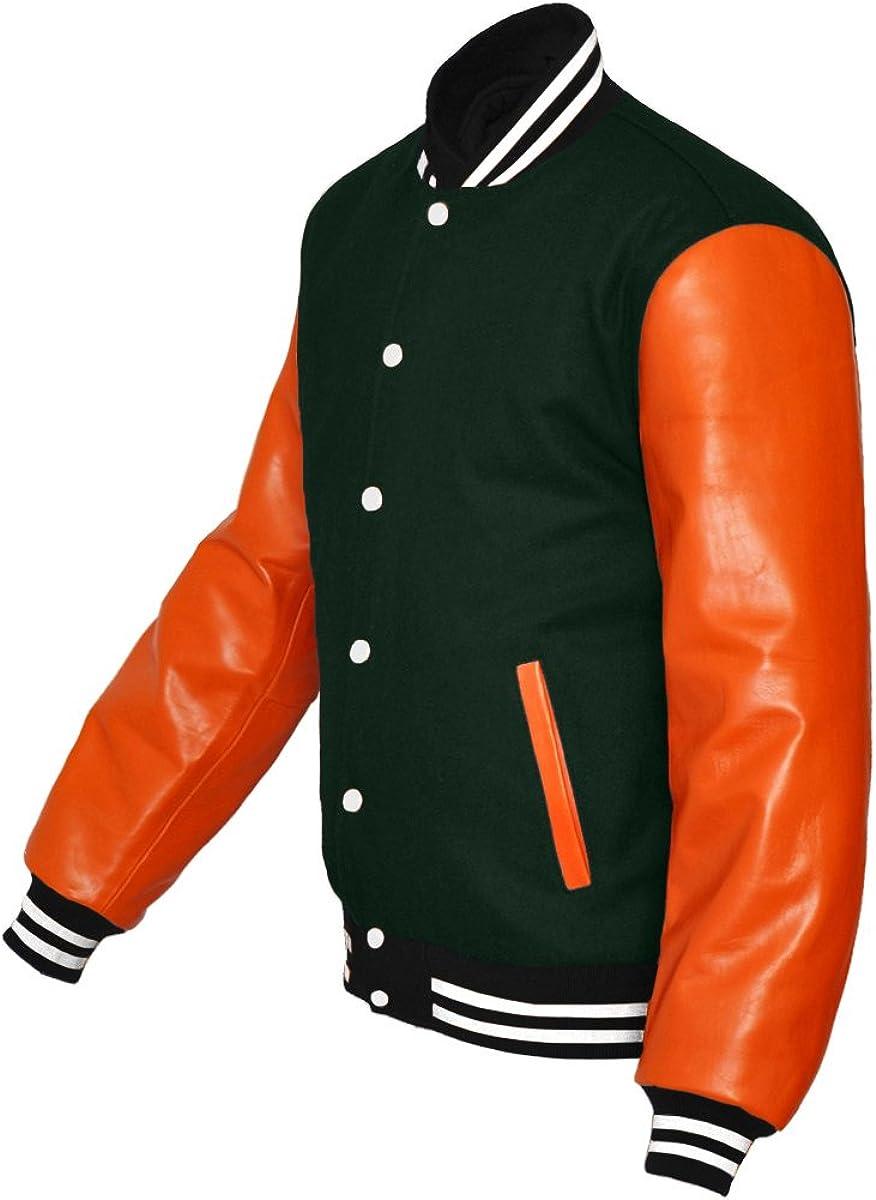 luvsecretlingerie Original American Varsity Real Orange Leather Letterman College Baseball Men Wool Jackets #O-W-W