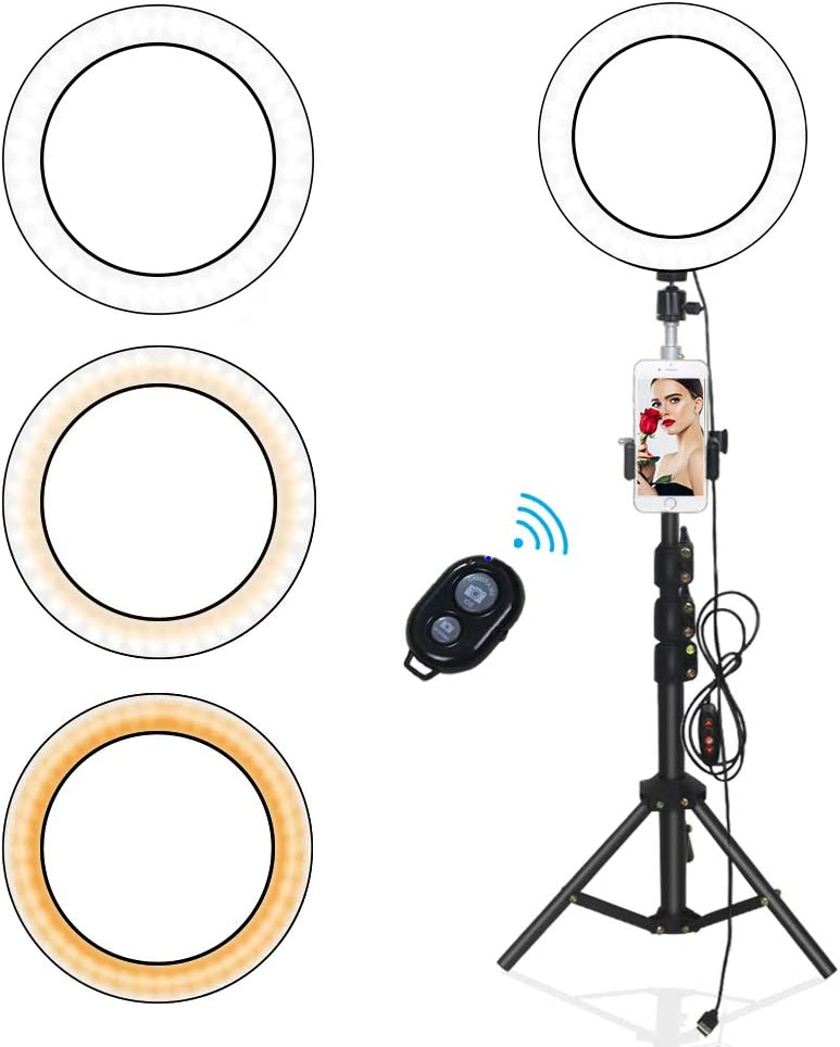 Yefound 9 inches Ring Light with Tripod Stand&Phone Holder, Remote Control, Live Streaming in Tiktok/YouTube/Facebook,Selfie/Photograhp/Video/Makeup, Compatible with Android/iPhone