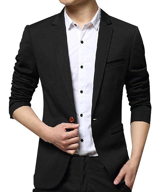 de4e80968 JiaYou Men Boy Slim Fit One Button Casual Outwear Blazer Jacket Coat ...