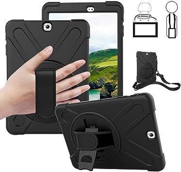 Coque pour Galaxy Tab S2 9.7 – Anti-chute, résistante aux chocs, housse de tablette rotative avec béquille et poignée de support, étui de transport ...