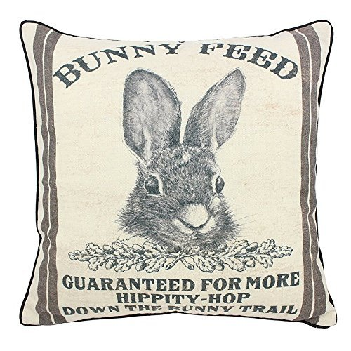 (Muyankissu® ArteeBOA Farmhouse Bunny Vintage Easter Retro Primitive Old Feed Sack Cotton Linen Throw Pillow Covers Rabbit Hare Cushion Cover Shams Square French Country Shabby Chic 24x24 inche)